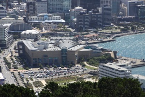The Te Papa museum from Mt Victoria.