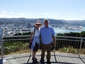 The happy couple on Mt.Victoria overlooking Wellington.