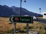 The sign to Twizel!