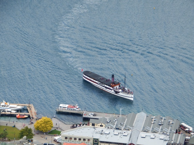 The Earnslaw vintage steamship from up the top. Still using coal: we saw it being delivered.