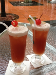"Oh yes, once we dried out we got wet inside with a Singapore sling in ""Raffles"". Well, it had to be done didn't it?"