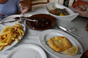 Saganaki, the whitebait, some Greek chips and even a plate of Beetroot.