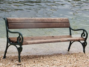 If you like sitting with your back to the sea, this bench in Sivota is for you.