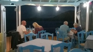 The inside of the Taverna looking out. Our favourite table on the right.